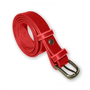 Image de la ceinture cuir rouge de 25 mm de large