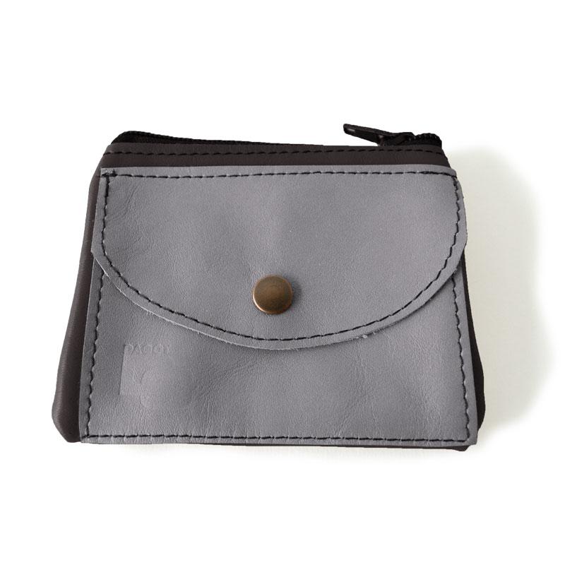 Visuel du porte-monnaie duo poche gris acier