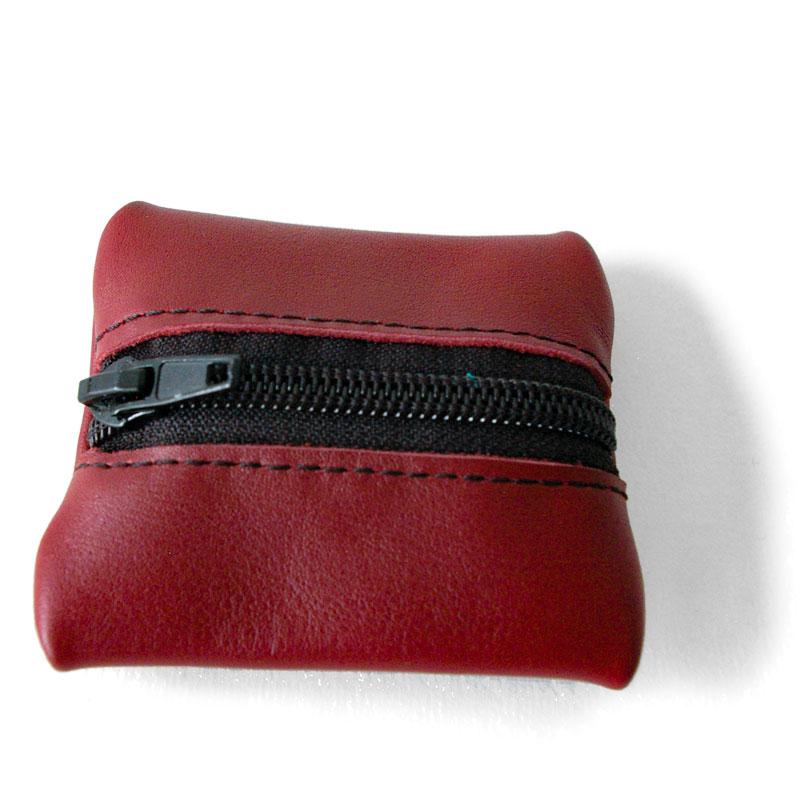 Visuel du porte-monnaie mini-zip bordeau