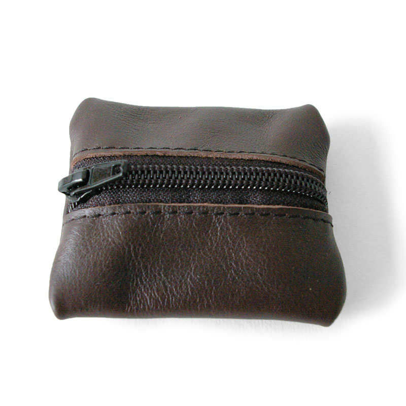 Visuel du porte-monnaie mini-zip marron