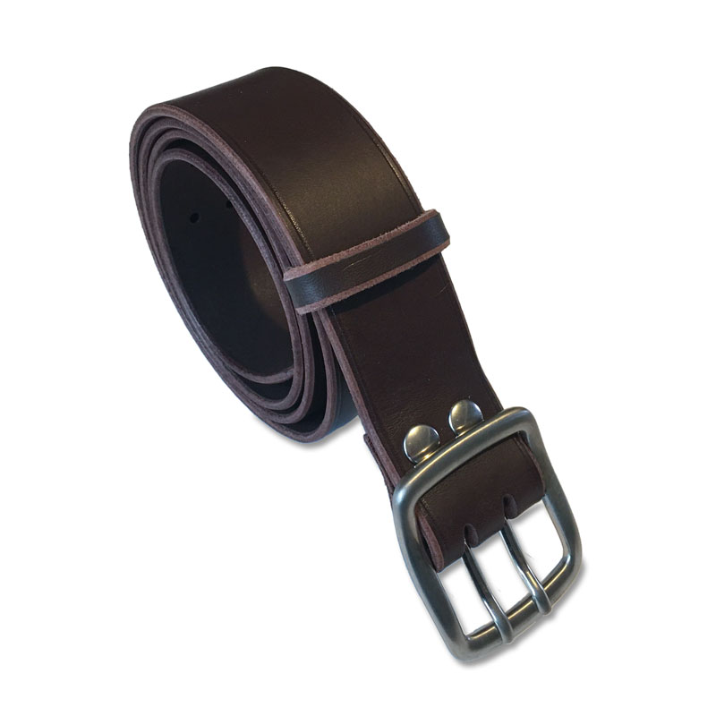 Image de la ceinture cuir marron double ardillon de 40 mm de large