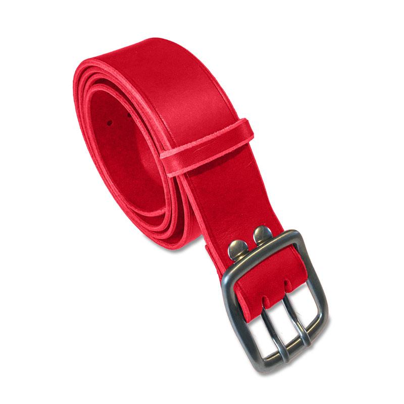 Image de la ceinture cuir rouge double ardillon de 40 mm de large