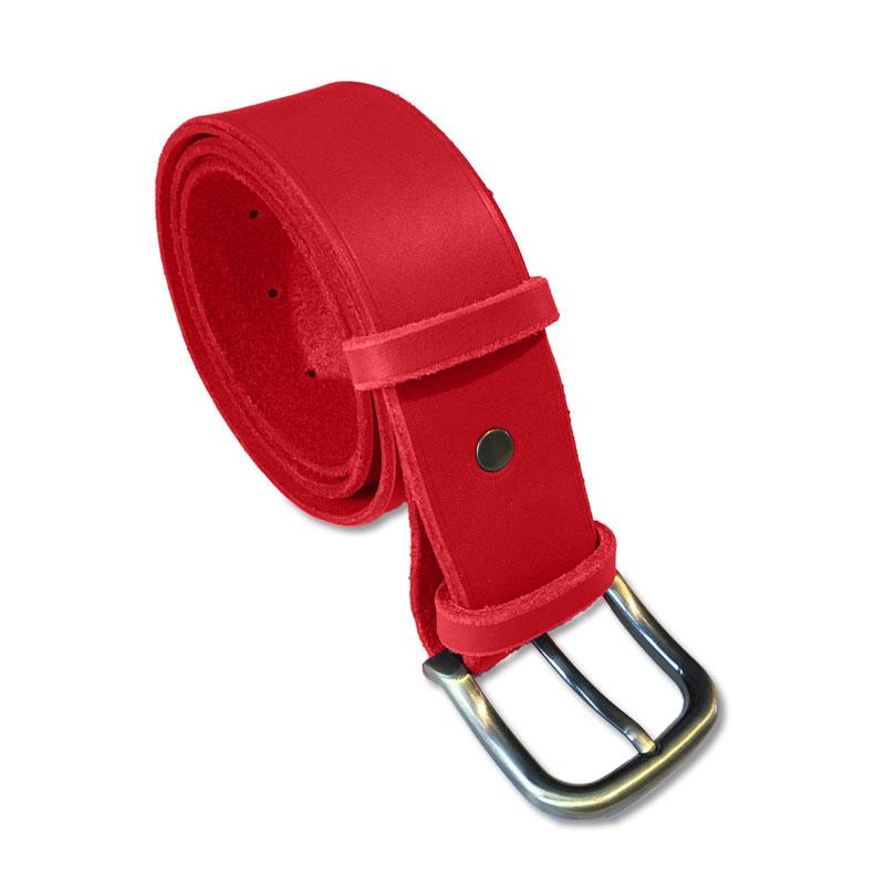 Image de la ceinture cuir rougede 40 mm de large