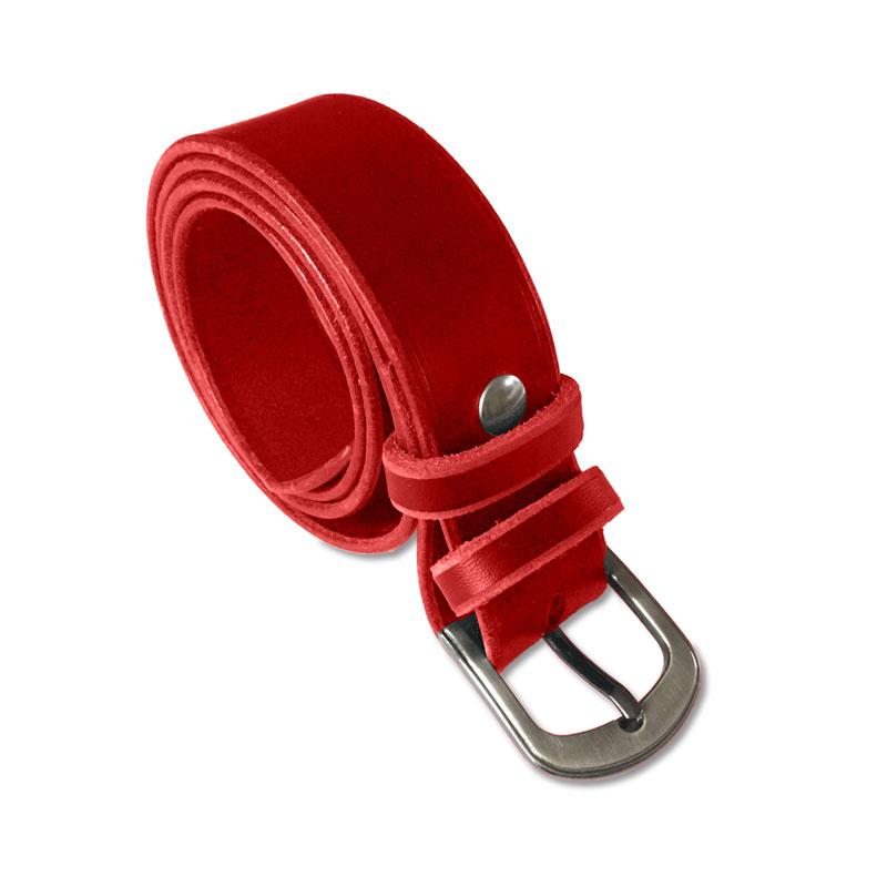 Image de la ceinture cuir rouge de 30 mm de large