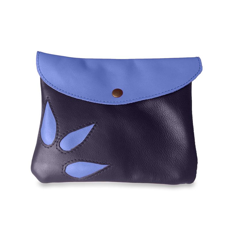 Image du sac pochette magique en cuir bleu