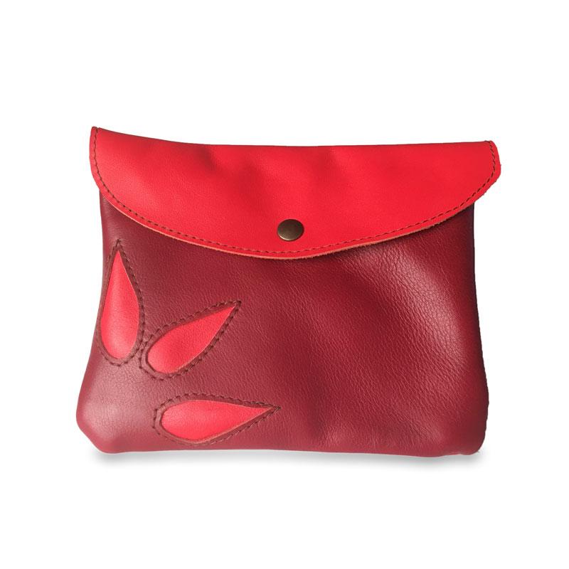 Image du sac pochette magique en cuir rouge
