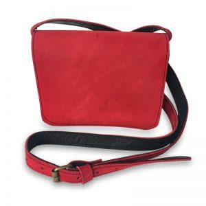 Image de la petite sacoche femme Catimini Soft en cuir rouge