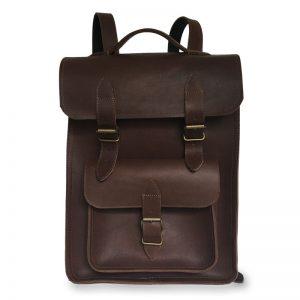 Présentation du sac à dos en cuir marron