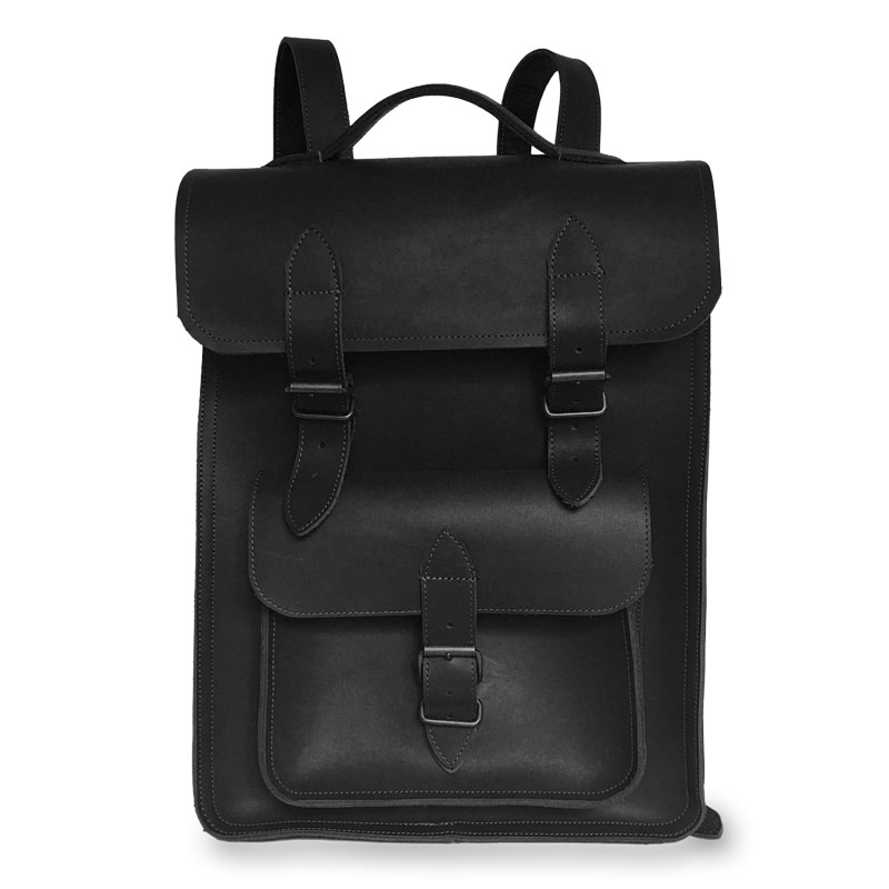 Présentation du sac à dos en cuir noir