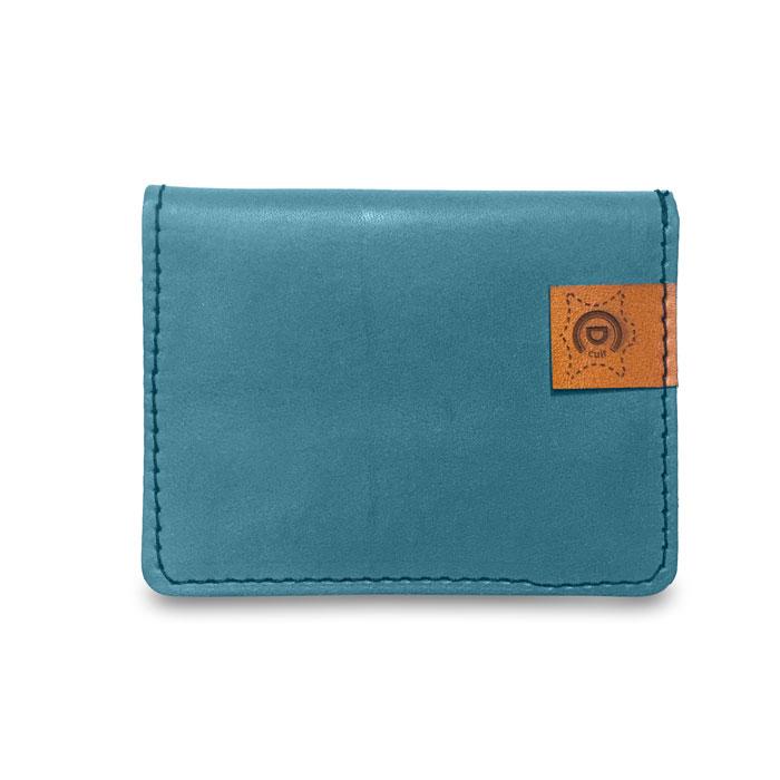 Visuel du porte-cartes en cuir bleu glace