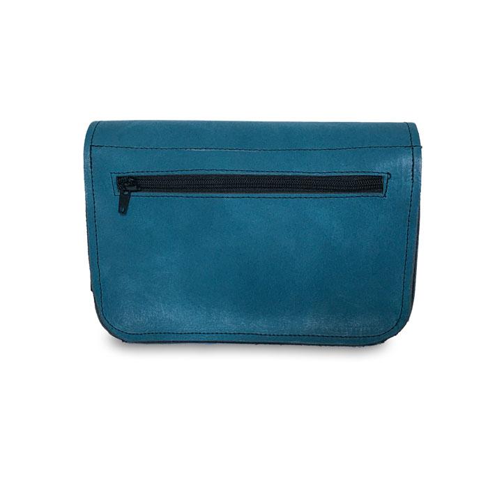 Visuel du dos du sac catimoyen en cuir bleu